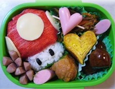 A Japanese lunch box imitating a virtual mushroom